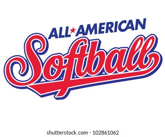 All-American Softball Vector Lettering