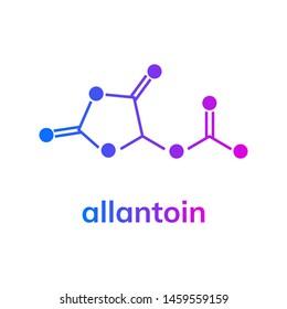 Allantoin chemical formula on white background