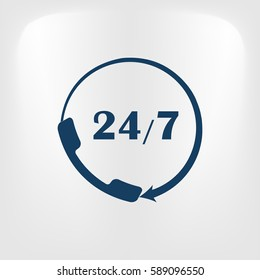 All-day customer support call-center. Flat vector icon