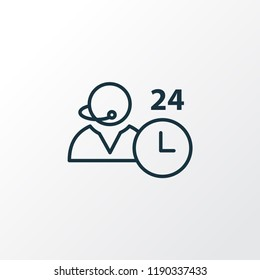 All-day support icon line symbol. Premium quality isolated 24/7 access element in trendy style.