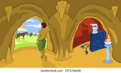 Allegory of the Cave. Philosophy. Philosopher Plato. Myth