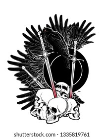 Allegory of war. Human skulls, swords and Crow. Conceptual art, tattoo or tarot card design. Black and white drawing. EPS10 vector illustration