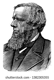 Allen G. Thurman, 1813-1895, he was a democratic representative, Ohio supreme court justice, and senator from Ohio, vintage line drawing or engraving illustration