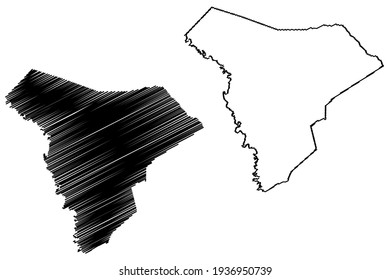 Allendale County, State of South Carolina (U.S. county, United States of America) map vector illustration, scribble sketch Allendale map