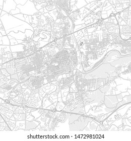 Allentown, Pennsylvania, USA, bright outlined vector map with bigger and minor roads and steets created for infographic backgrounds.