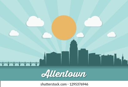 Allentown skyline - Pennsylvania - United States of America, USA - vector illustration