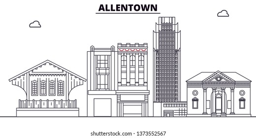 Allentown , United States, outline travel skyline vector illustration.
