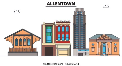 Allentown,United States, flat landmarks vector illustration. Allentown line city with famous travel sights, design skyline.