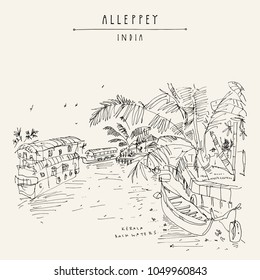 Alleppey Backwaters, Kerala, South India. Artistic travel sketch of boats on water and palm trees. Laid back atmosphere, back in time vintage hand drawn touristic postcard. Vector illustration