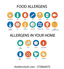 Allergen Icons Set in Flat Style