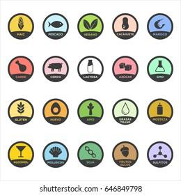 Allergen icons set. Written in Spanish. Vector illustration.