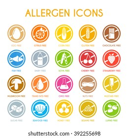 Allergen icons vector set