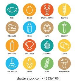 Allergen icons vector set. Food allergens symbols emblems signs collection