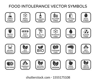Allergen ingredients vector icons. Product free allergen ingredient symbols. No lactose, gluten, soy, sugar, gmo, trans fat. Organic, bio, vegan icons. Food intolerance stock vector illustration