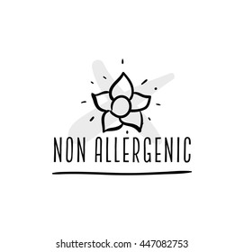 Allergens free, non allergenic product. Isolated vector label, stickers icon or mark. Hand drawn design for packaging on white background.