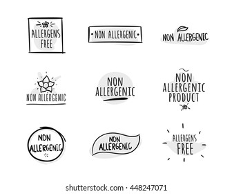 Allergens free, non allergenic product. Set of isolated vector labels, stickers, icons, marks. Hand drawn black and white design for packaging on white background.