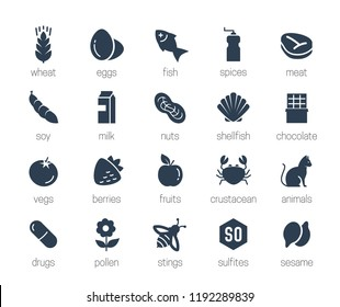 Allergens icon set in glyph style