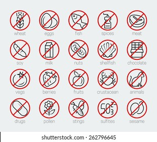 Allergens icon set in thin line style