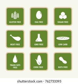 allergens label and icons of food. gmo free products.