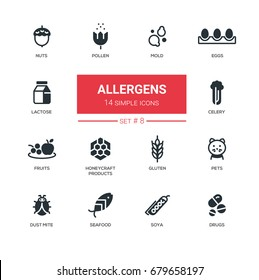 Allergens - set of vector silhouette icons, pictograms. Nuts, pollen, seafood, mold, lactose, eggs, celery, fruits, honeycraft products, pets, gluten, dust mite, soya, drugs