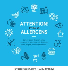 Allergens Types Infographics Banner Card on a Blue Include of Insect, Flower, Honey, Citrus and Latex. Vector illustration