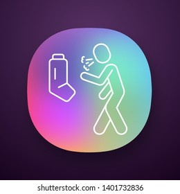Allergic asthma, anaphylaxis app icon. Asthmatic using inhaler. UI/UX user interface. Bronchospasm, wheezing, shortness of breath. Web or mobile application. Vector isolated illustration