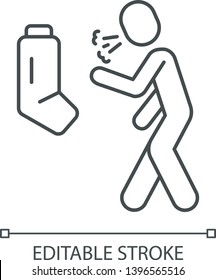 Allergic asthma, anaphylaxis linear icon. Thin line illustration. Wheezing, suffocation prevention. Asthmatic using inhaler contour symbol. Vector isolated outline drawing. Editable stroke