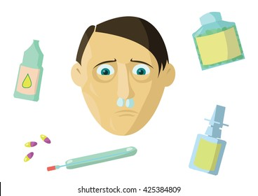 Allergic rhinitis. The man is sick. He plugged his nose with a cotton swab to avoid snot running down. Medication does not helps.