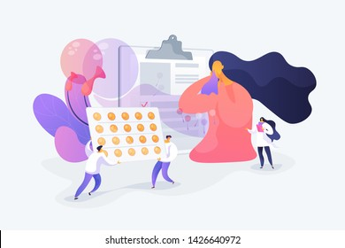 Allergic symptoms and reactions treatment. Pharmaceutical industry. Seasonal allergy, seasonal allergy diagnosis, pollen allergy immunotherapy concept. Vector isolated concept creative illustration