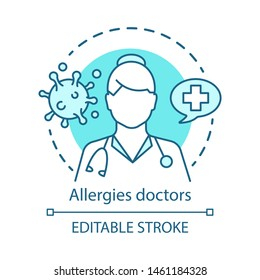 Allergies doctors concept icon. Allergist, immunologist, ENT doctor idea thin line illustration. Allergic diseases, asthma diagnosis and treatment. Vector isolated outline drawing. Editable stroke