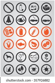 allergies icon set with allergens and cure elements