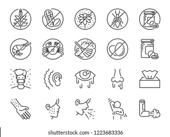 Allergies icon set. Included the icons as allergic diseases, dust allergy, food allergy, rhinitis, sinus Infection, asthma and more.