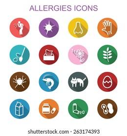 allergies long shadow icons, flat vector symbols