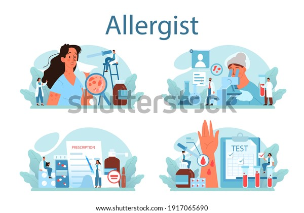 Allergist concept set. Disease with allergy symptom, medical allergology diagnostic, testing and treatment. Care for health. Vector illustration in flat style