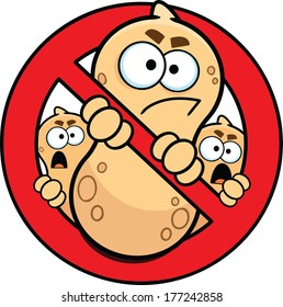 Allergy alert sign, no peanuts, done in vector cartoon style.