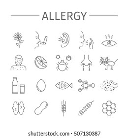 Allergy. Causes, symptoms. Line icons set. Vector signs for web graphics.