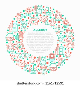 Allergy concept in circle with thin line icons: runny nose, dust, streaming eyes, lactose intolerance, citrus, dust mite, allergy test, edema. Modern vector illustration, print media template.