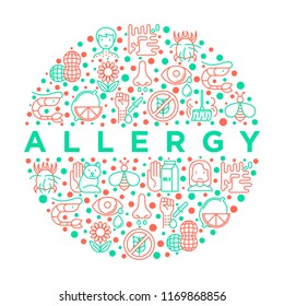 Allergy concept in circle with thin line icons: runny nose, dust, streaming eyes, lactose intolerance, citrus, seafood, gluten free, dust mite, allergy test, edema. Vector illustration.
