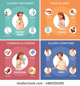 Allergy concept icons set with food allergy symbols cartoon isolated vector illustration