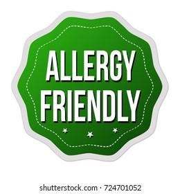 Allergy friendly  label or sticker on white background, vector illustration