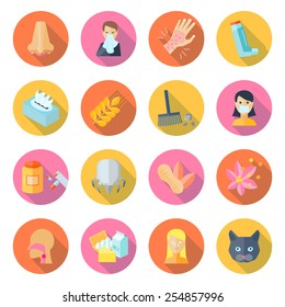 Allergy icon flat set with cough rhinitis dermatitis sneeze isolated vector illustration