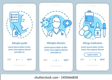 Allergy medical help onboarding mobile app page screen with linear concepts. Allergies guide, doctors, medication walkthrough steps graphic instructions. UX, UI, GUI vector template with illustrations
