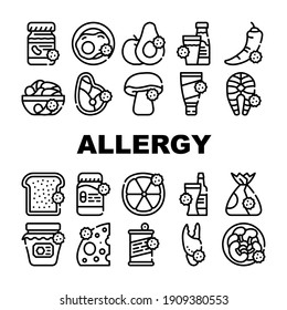 Allergy On Products Collection Icons Set Vector. Allergy On Medicaments And Cosmetics, Fish And Meat, Cheese And Milk, Fruits And Vegetables Black Contour Illustrations