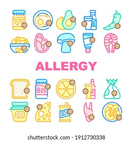 Allergy On Products Collection Icons Set Vector. Allergy On Medicaments And Cosmetics, Fish And Meat, Cheese And Milk, Fruits And Vegetables Concept Linear Pictograms. Contour Color Illustrations