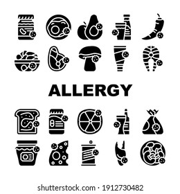 Allergy On Products Collection Icons Set Vector. Allergy On Medicaments And Cosmetics, Fish And Meat, Cheese And Milk, Fruits And Vegetables Glyph Pictograms Black Illustrations