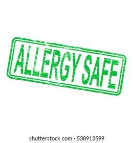 Allergy safe rectangular rubber stamp vector illustration