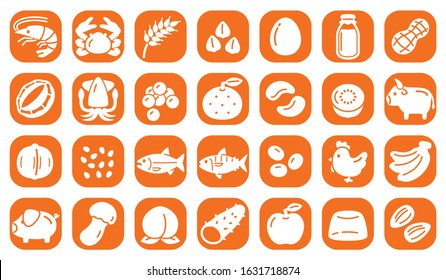 Allergy specific raw materials, 28 items icons.
