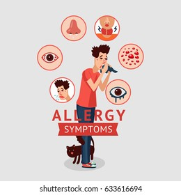 Allergy symptoms concept with cough sneeze itching skin rash runny nose and sick sore eyes isolated vector illustration