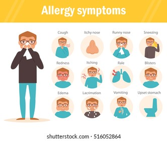 Allergy symptoms. Cough, itchy, nose, runny, sneezing, redness, itching, rale, blisters, edema, lacrimation, vomiting, upset, stomatch. Vector. Cartoon character. Isolated. Flat.