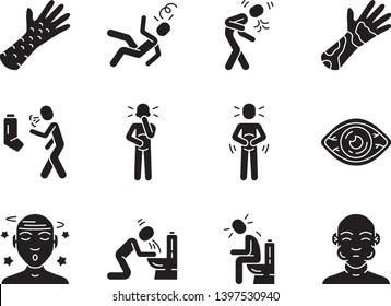 Allergy symptoms glyph icons set. Seasonal allergic reaction. Respiratory infection. Conjunctivitis, contact dermatitis, food poisoning. Flu, influenza silhouette symbols. Vector isolated illustration